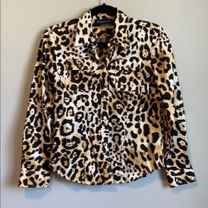 Striking fitted leopard print blouse